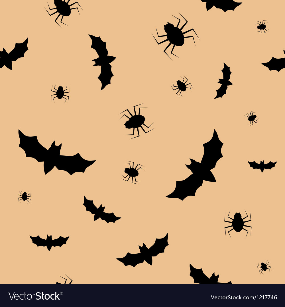 Seamless pattern with bats and spiders vector image