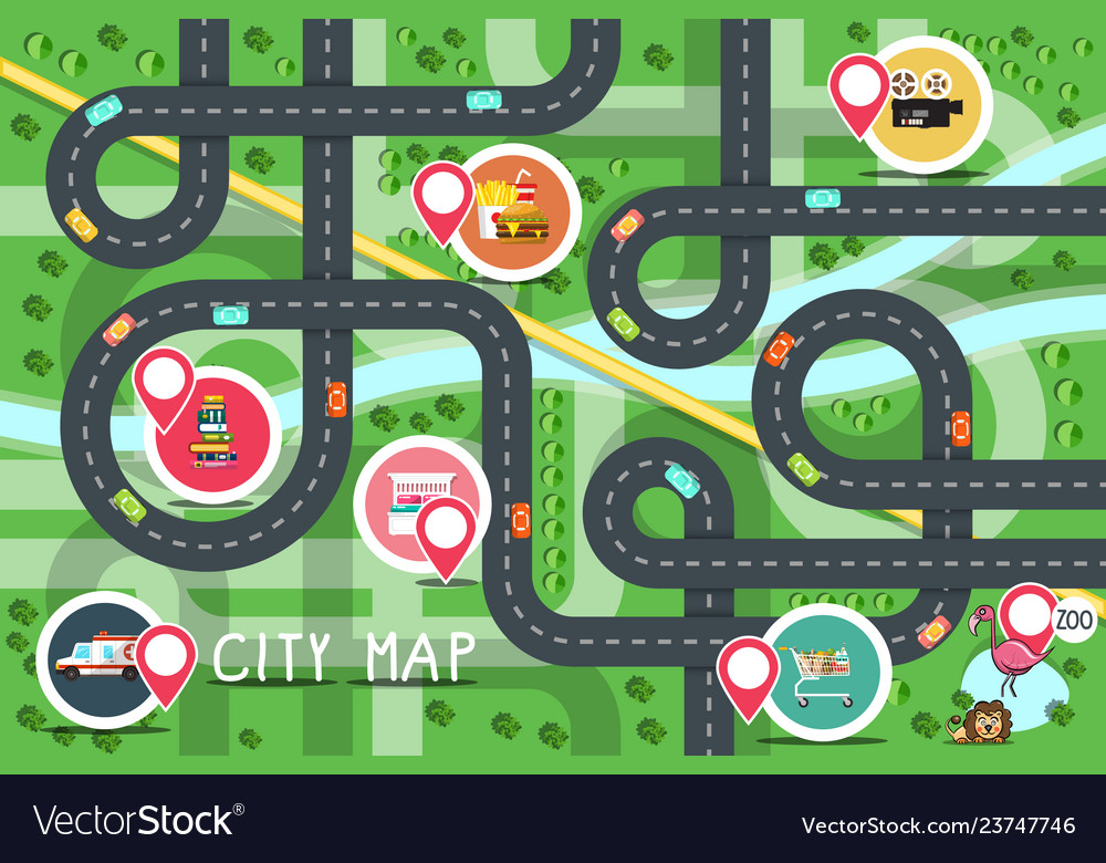 Top view city road map with destination points