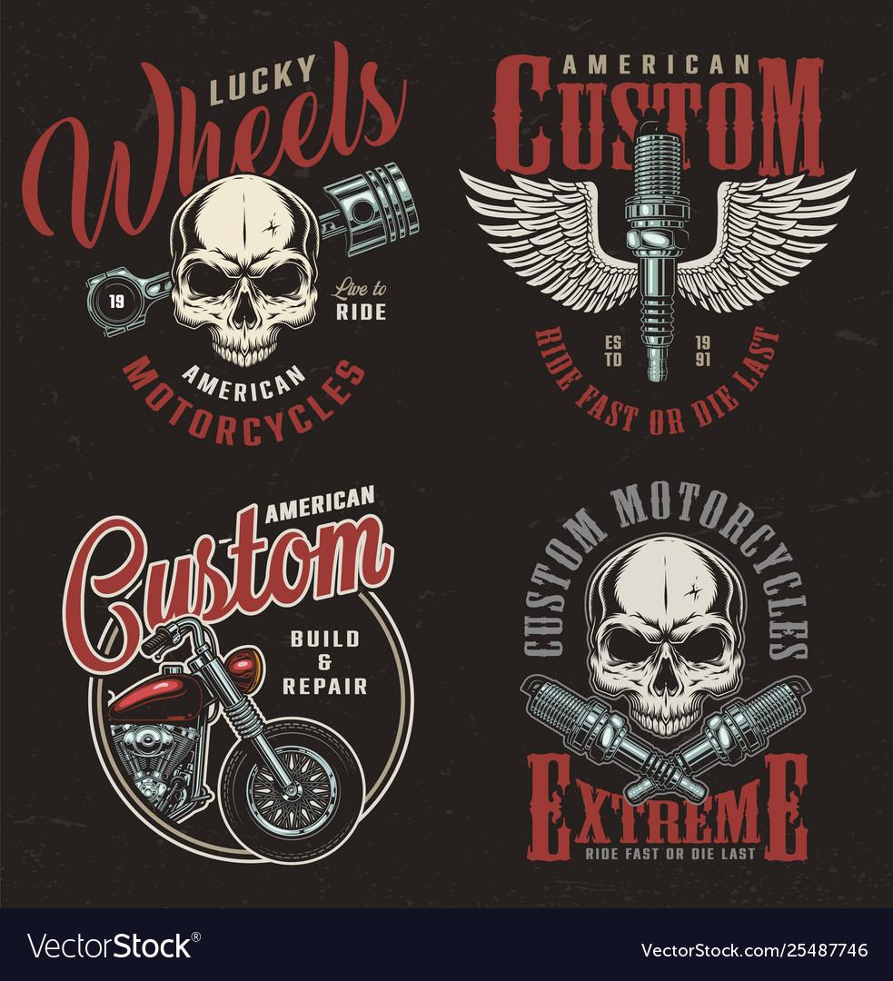 Vintage motorcycle repair service logos
