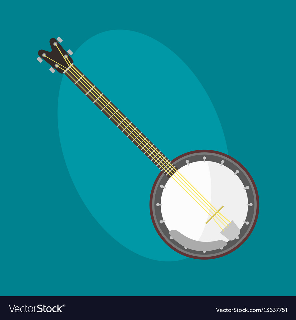 Banjo guitar icon stringed musical instrument vector image
