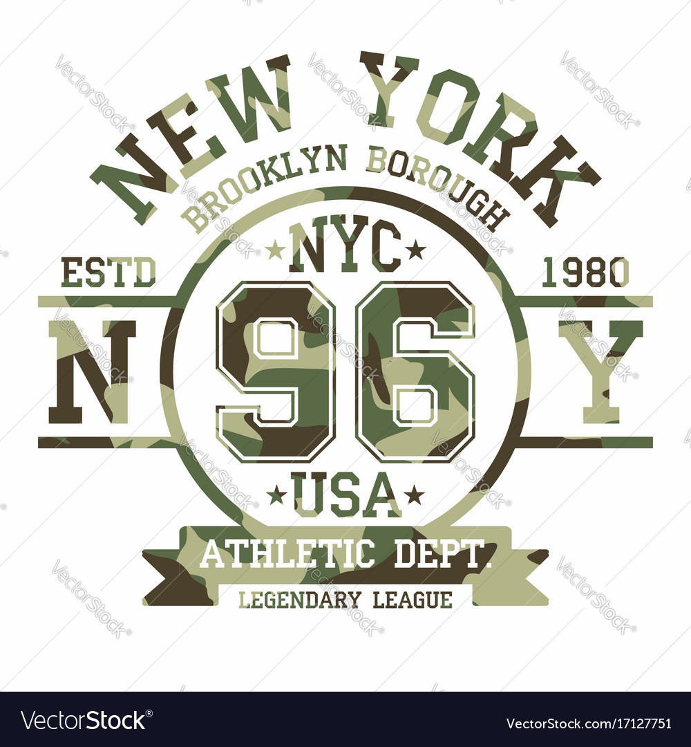 Camouflage typography for t-shirt print new york