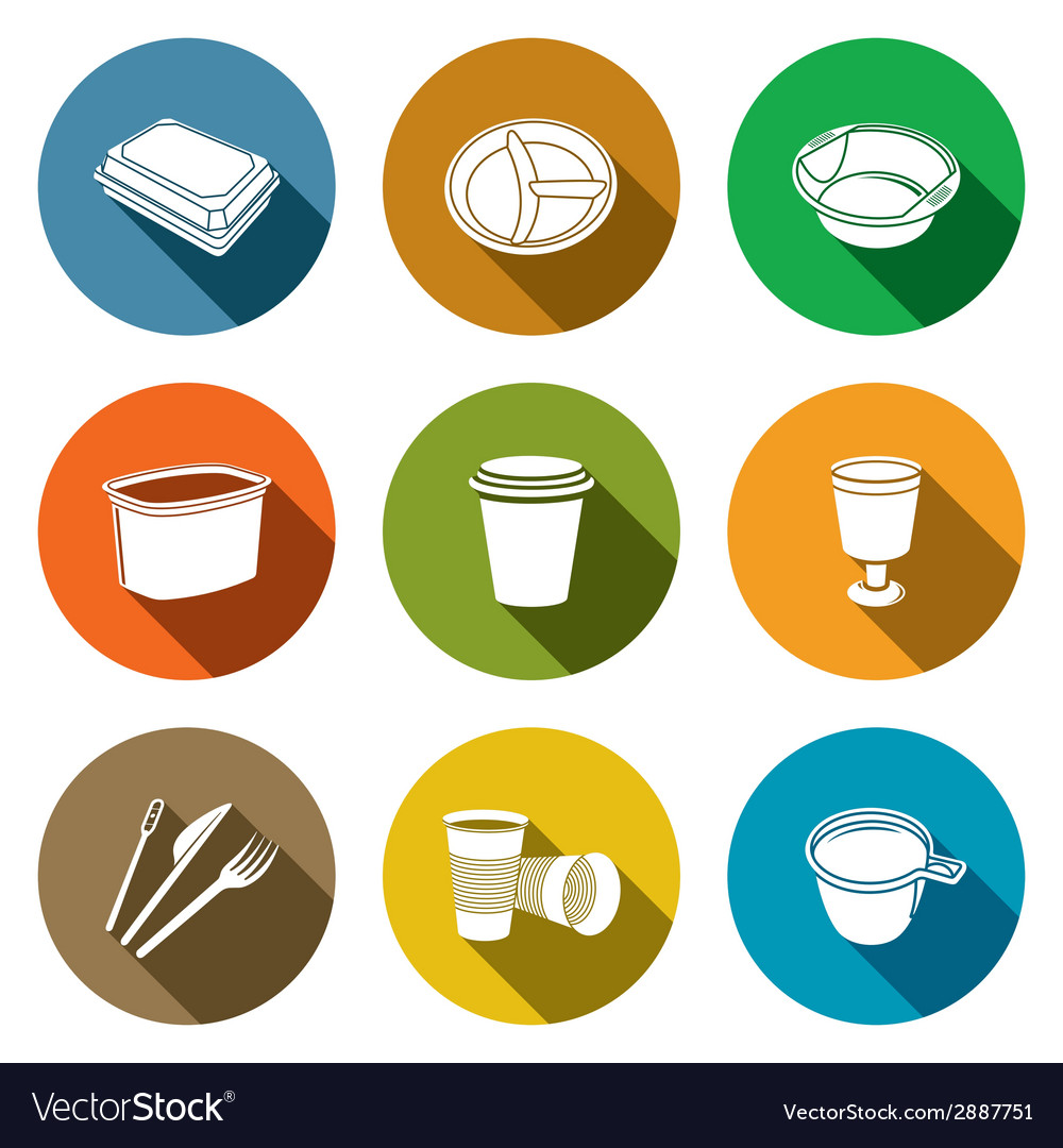 Disposable tableware Icons vector image  sc 1 st  VectorStock & Disposable tableware Icons Royalty Free Vector Image