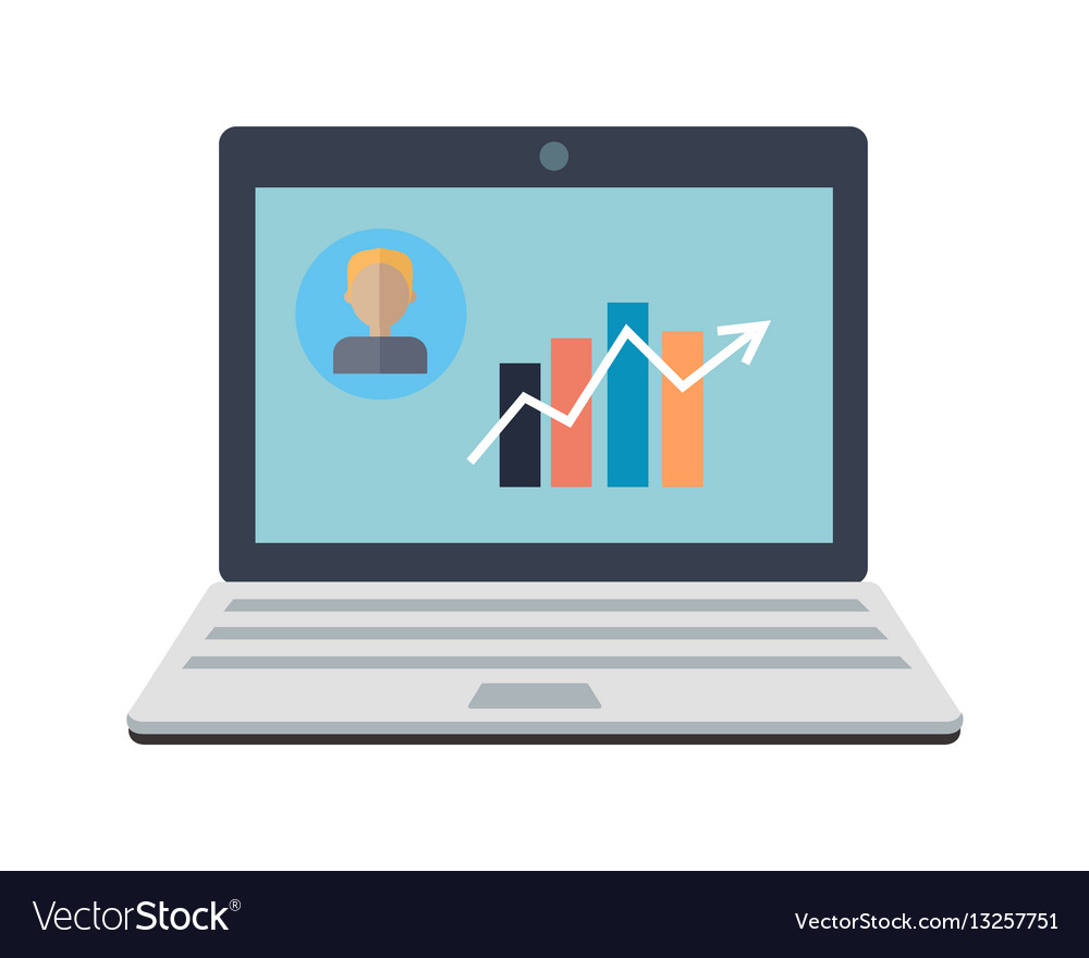 Laptop monitor business graph and chart vector image