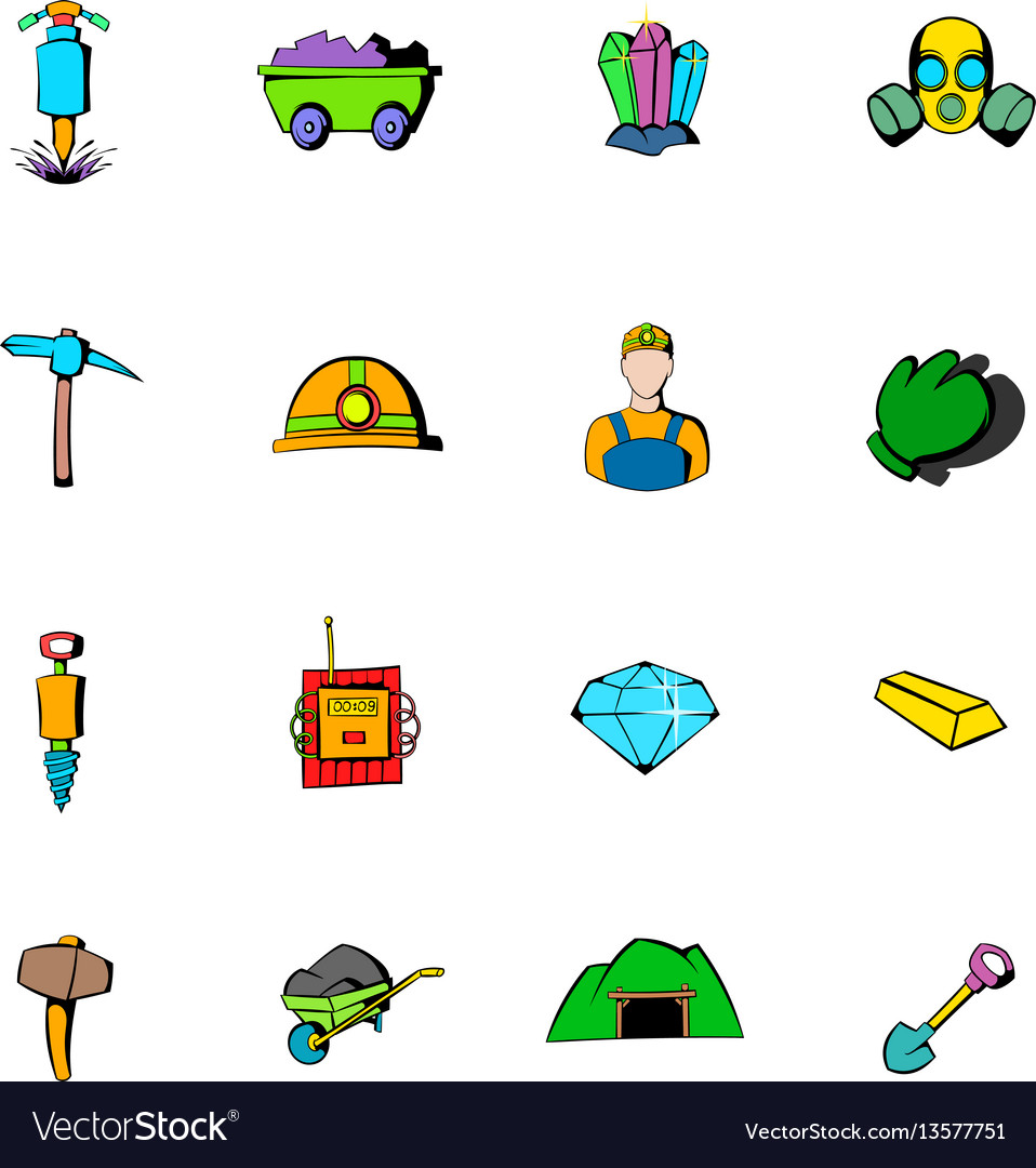 Mining industry icons set cartoon