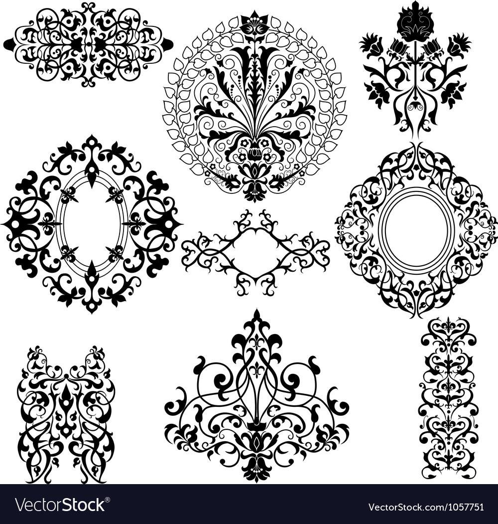 Set of decorative floral patterns