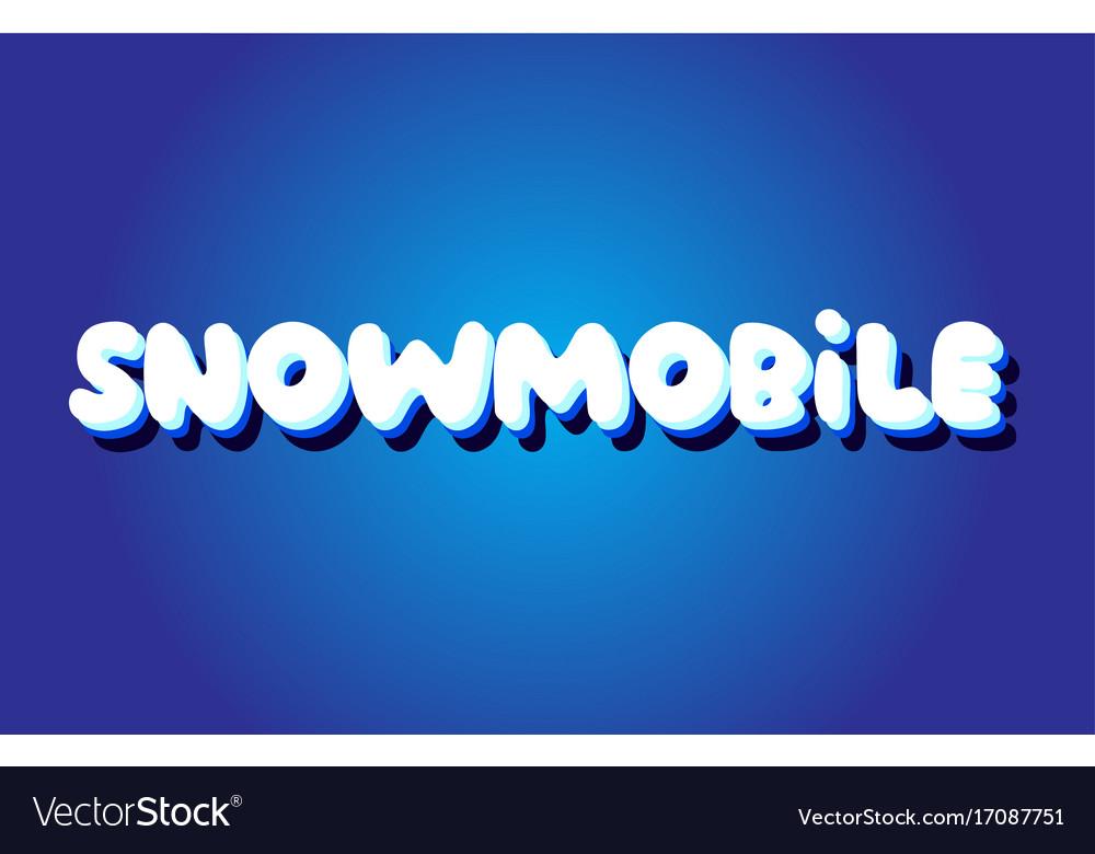 Snowmobile text 3d blue white concept design logo