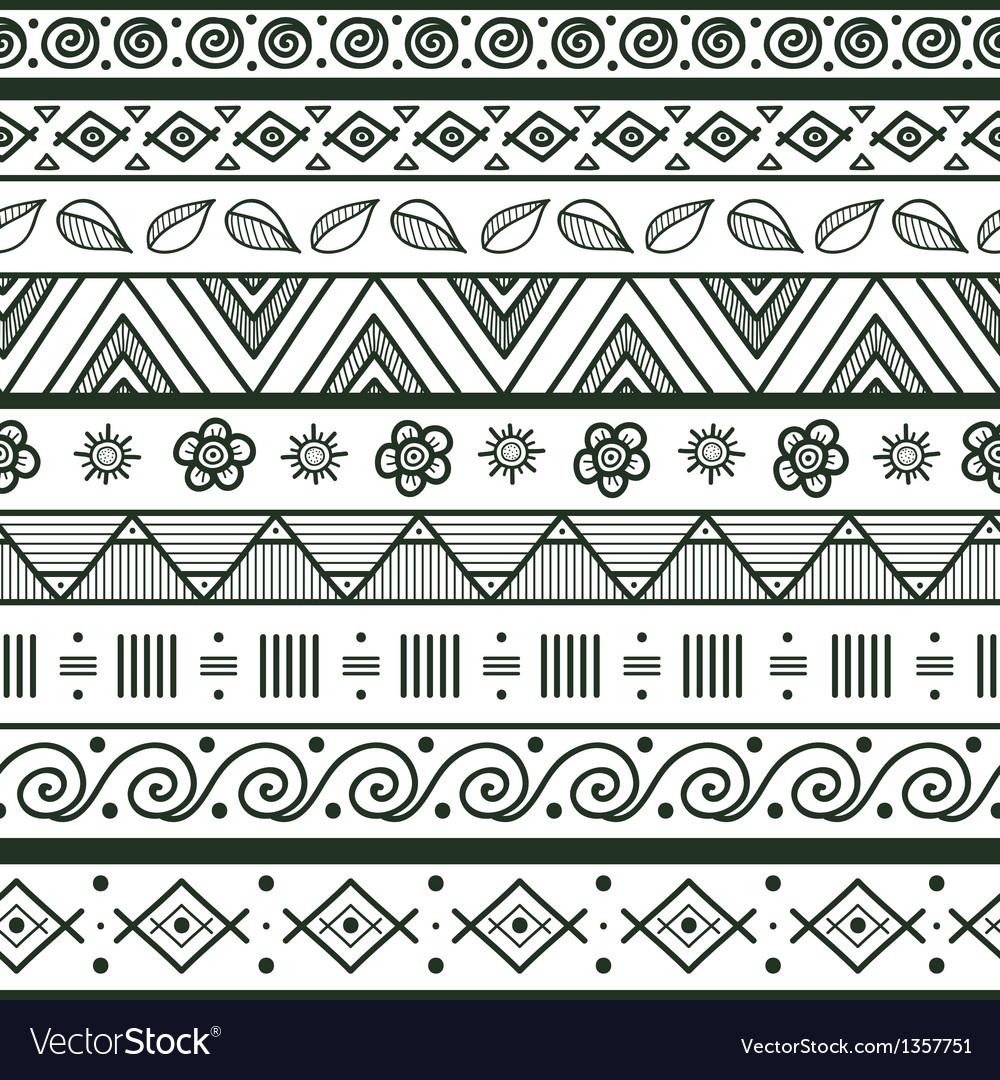 Tribal striped hand drawn seamless pattern