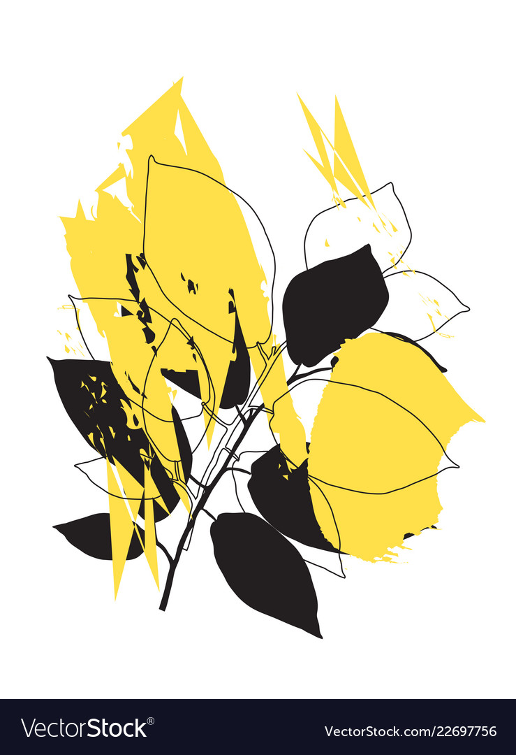 Abstract shapes with plants
