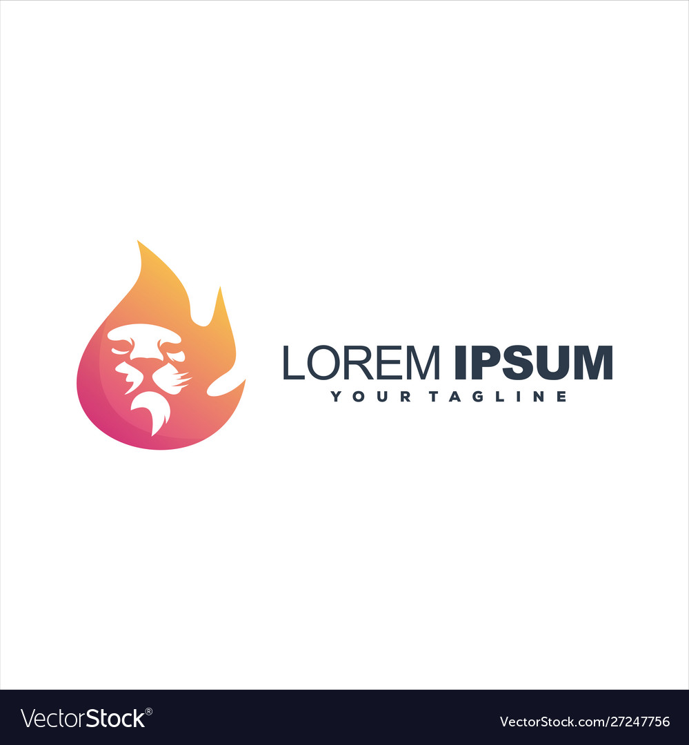 Awesome flame lion logo design