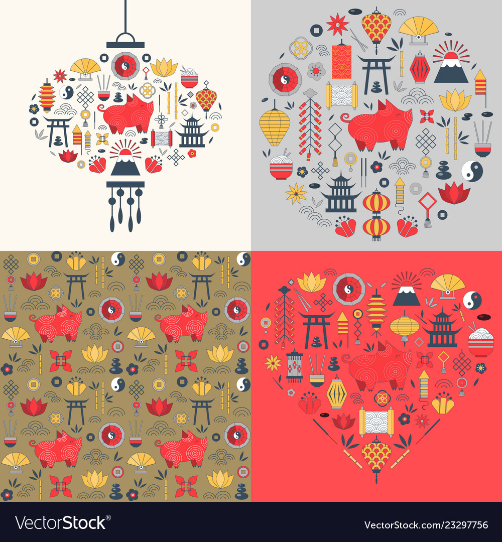 Chinese new year cards set