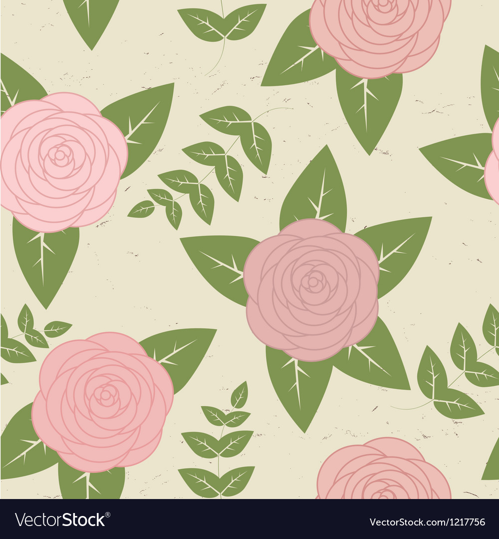 Cute vintage seamless pattern with roses vector image