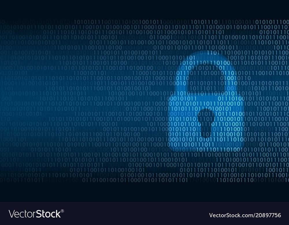 Cyber technology security lock on digital screen