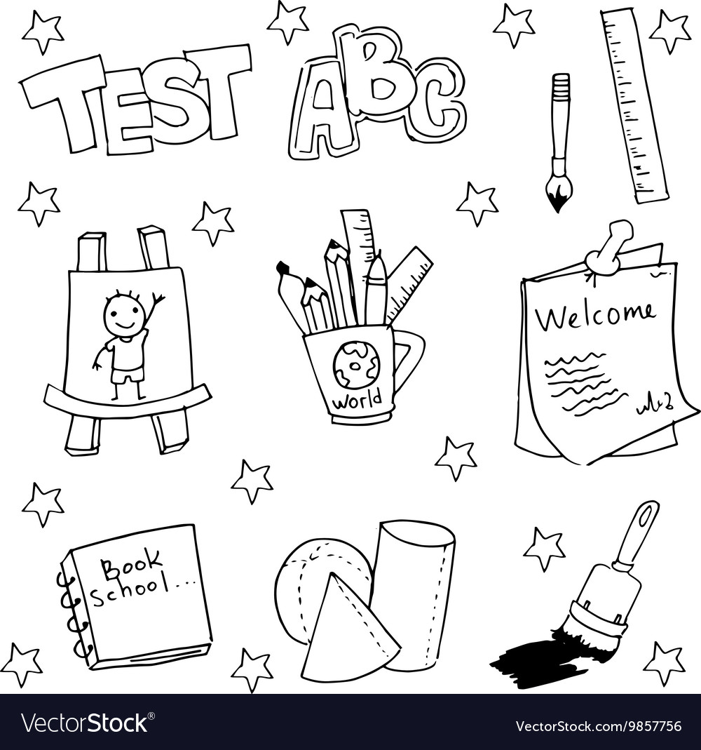 Doodle of school tools with hand draw vector image