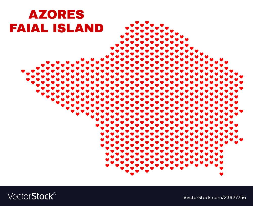 Faial island map - mosaic of love hearts