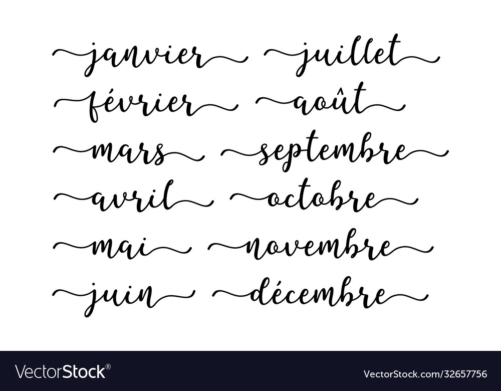 Hand lettered months year in french