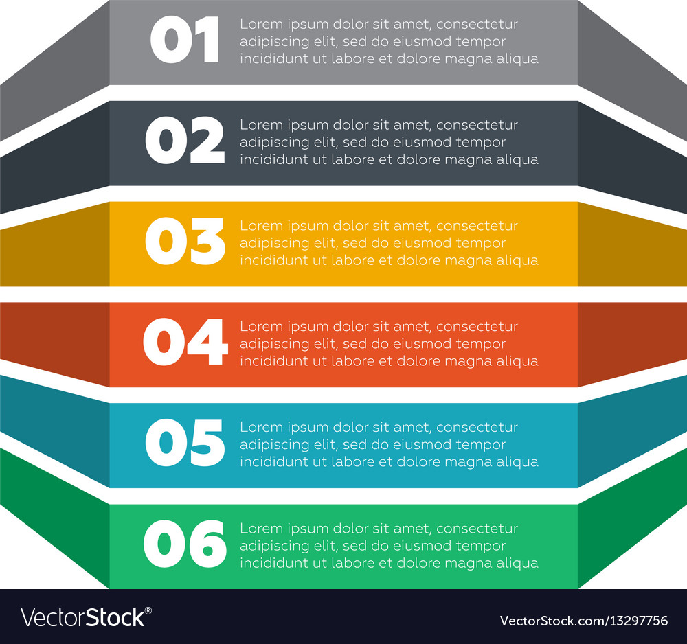 Infographics elements six steps process