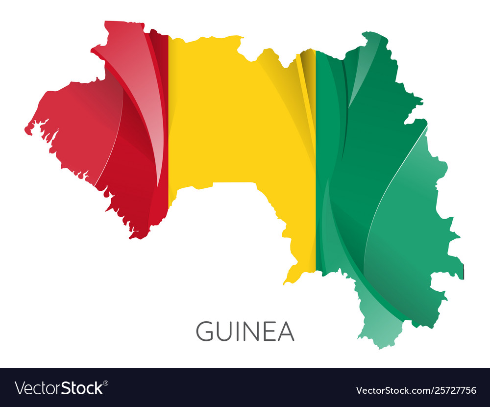 Map guinea with an official flag on white