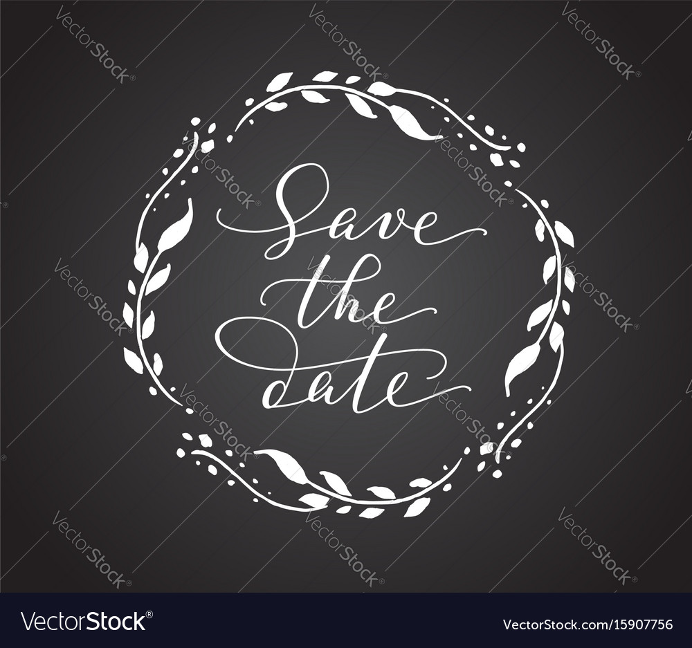 Save the date card with floral wreath chalk board