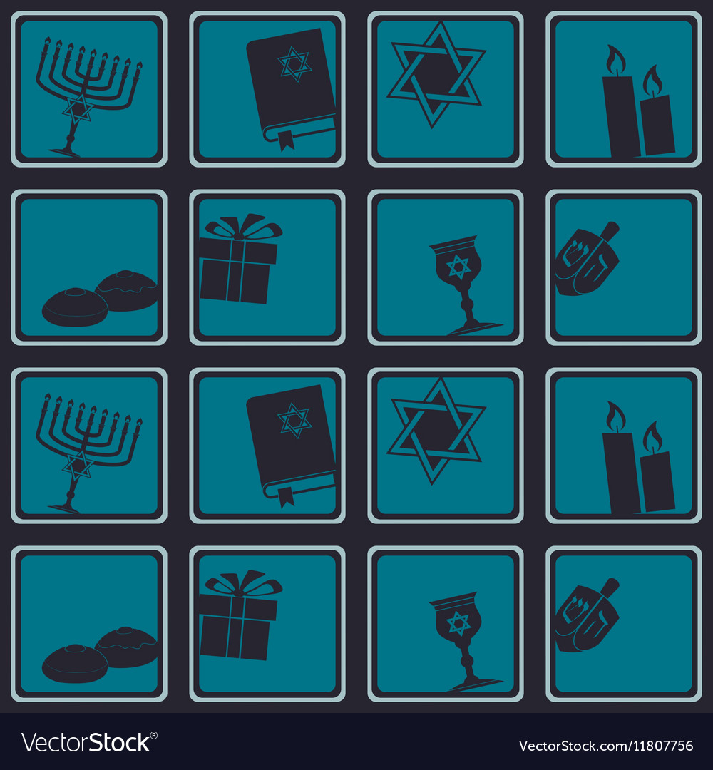 Seamless pattern with hanukkah symbol icons