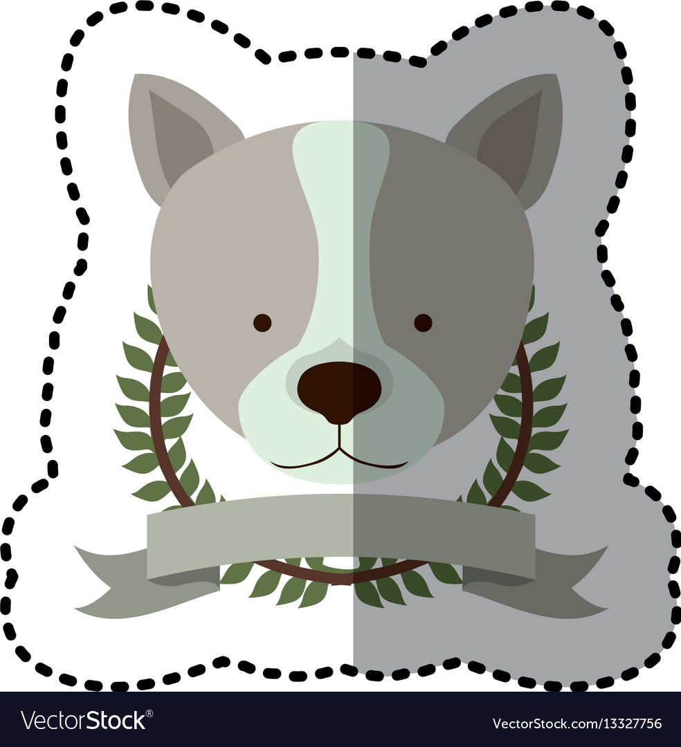 Sticker crown leaves and label with husky dog vector image