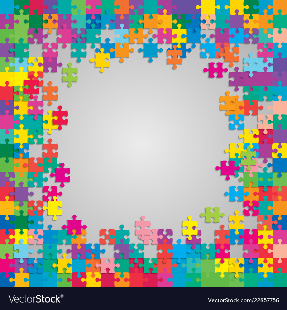 The colorful pieces puzzle banner or frame