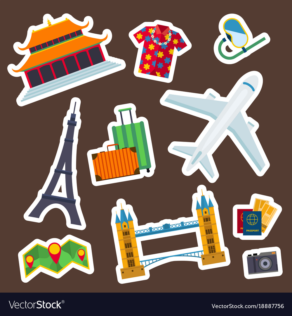 Travel icons flat tourism vacation place