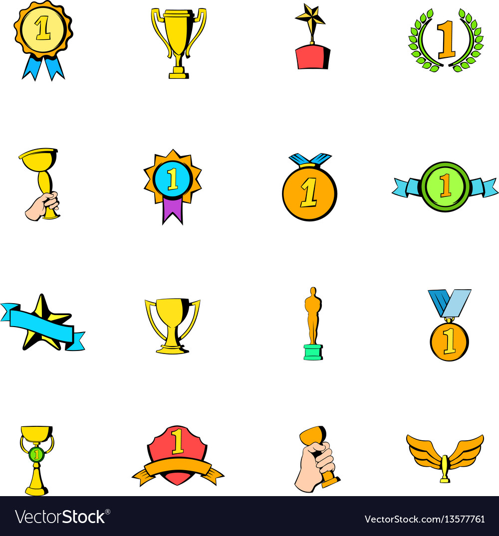Award icons set cartoon