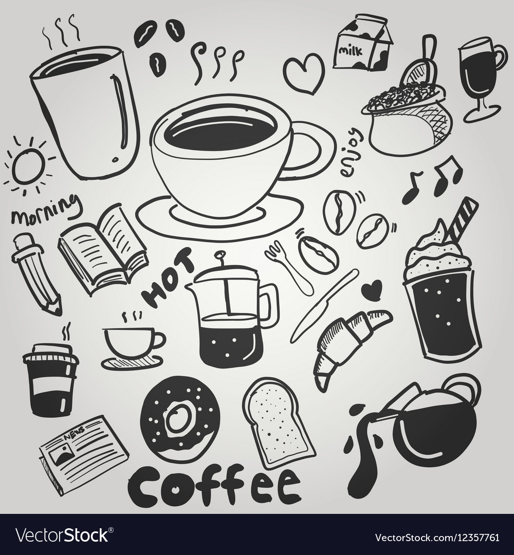 Coffe doodle drawing cute vector image