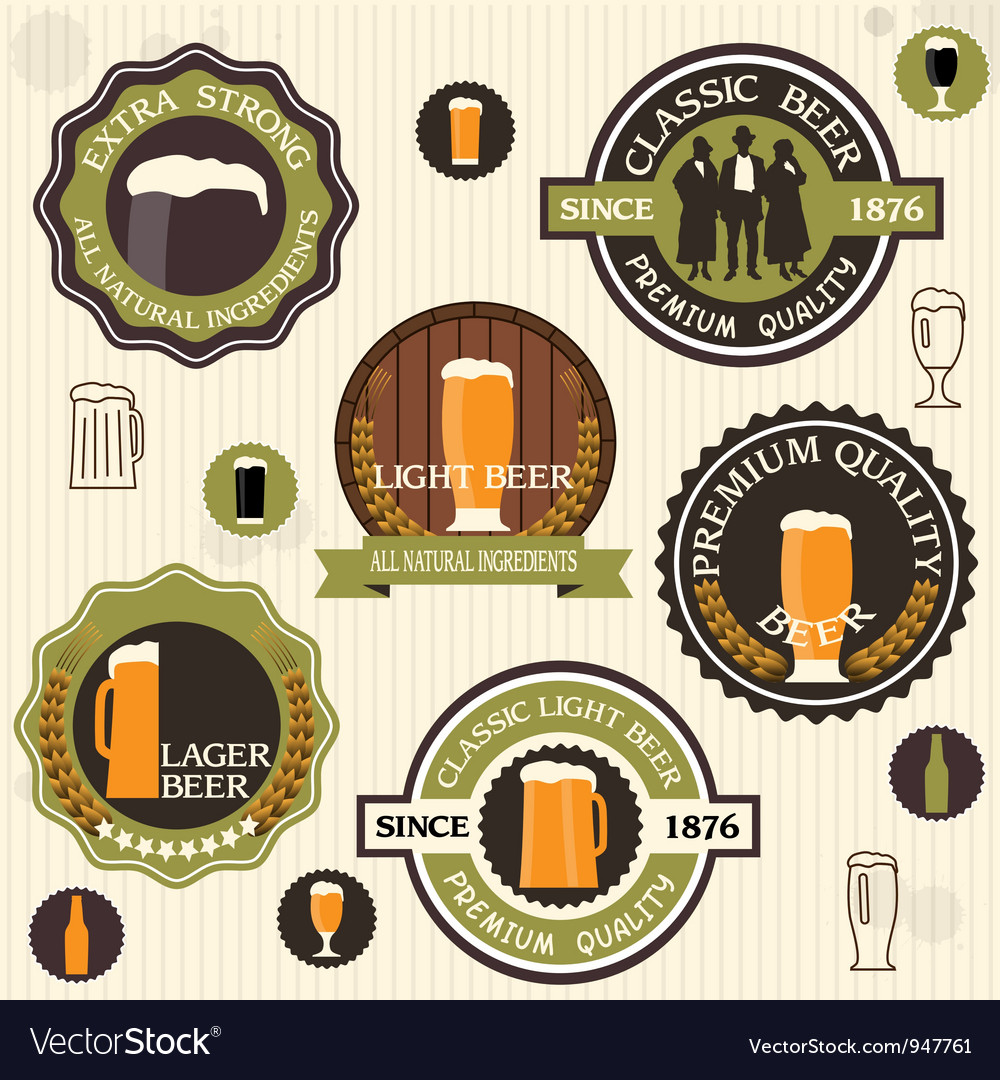 Collection of beer badges and labels in vintage