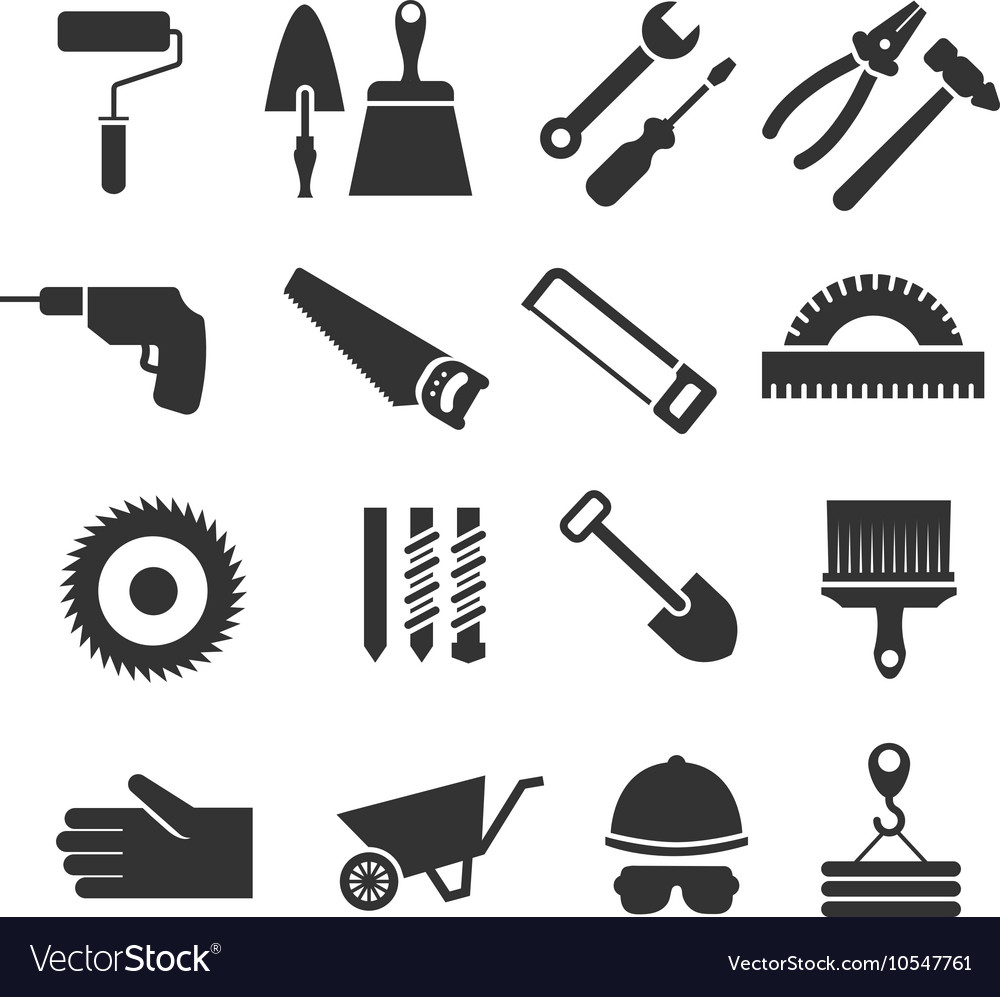 Construction tools black icons set