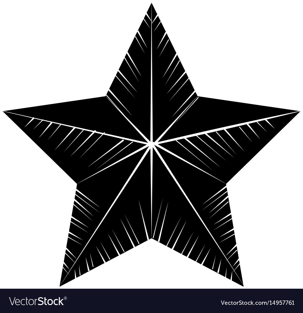 Contour cute modern and big star design vector image