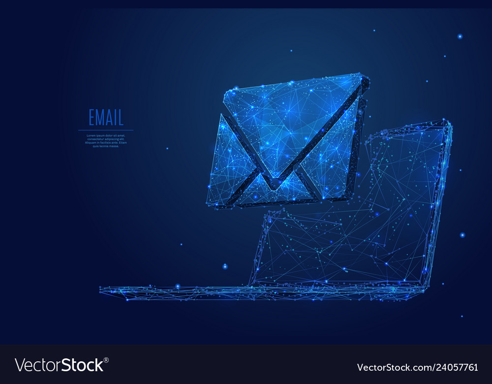 Email on laptop low poly blue