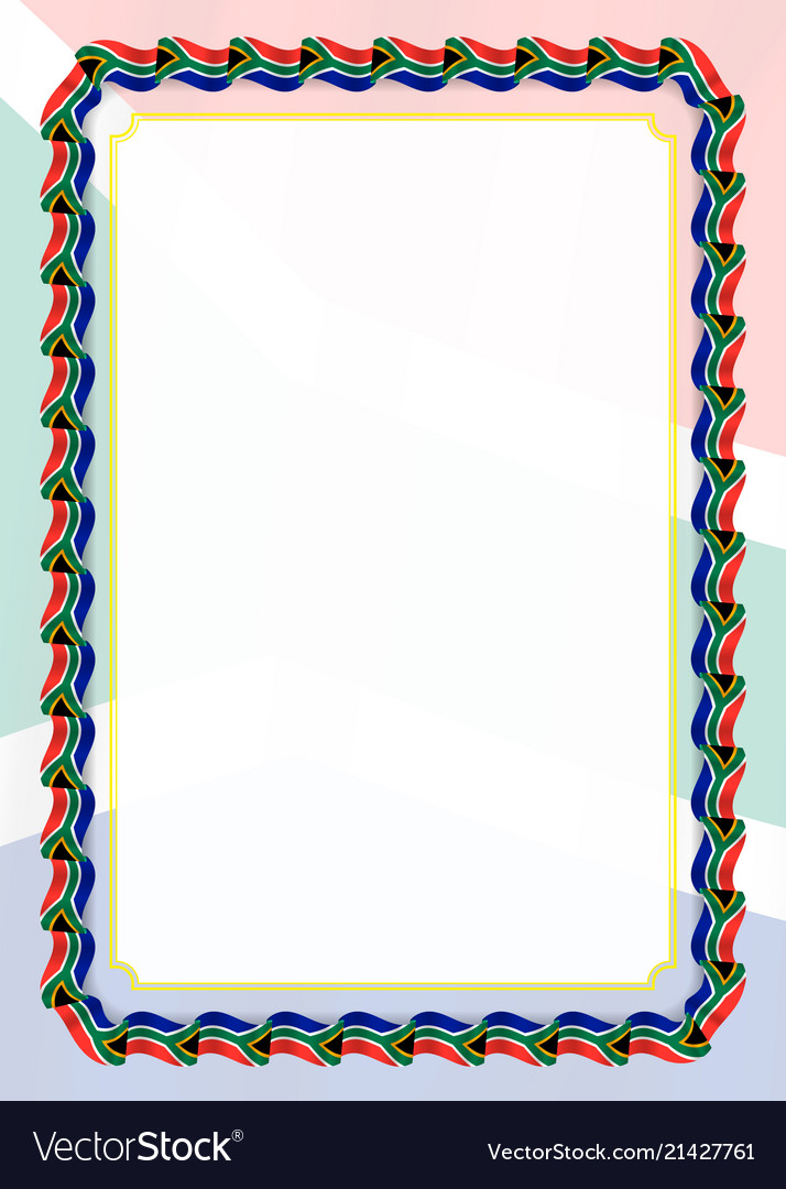 Frame And Border Of Ribbon With South Africa Flag Vector Image