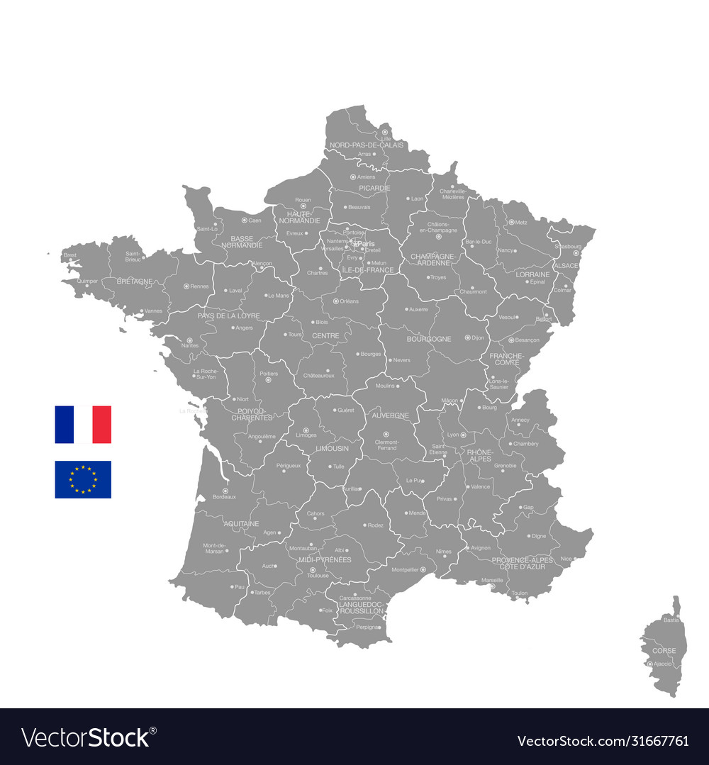 Image of: Grey Political Map France Royalty Free Vector Image