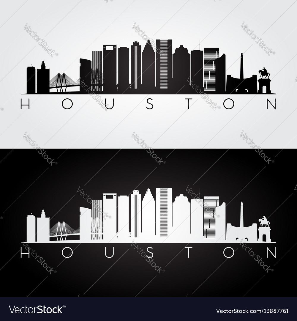 Houston usa skyline and landmarks silhouette