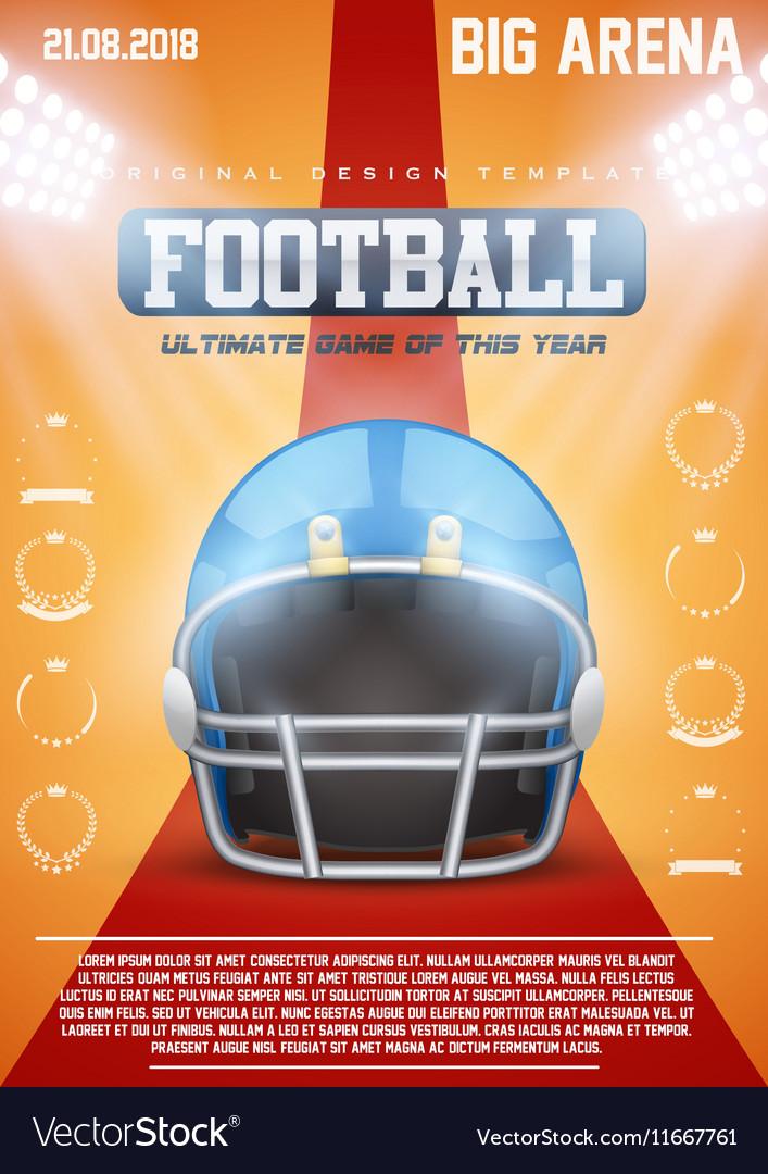 Poster Template of American Football Helmet