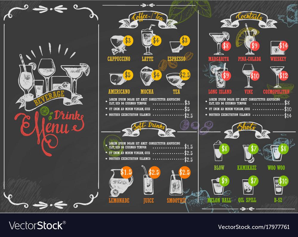 Restaurant menu beverage drink poster chalkboard