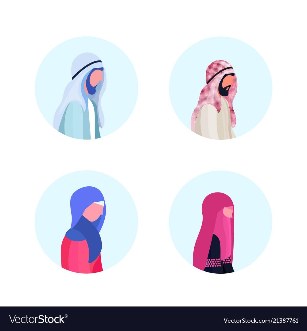 Set arab man woman profile avatar icon isolated