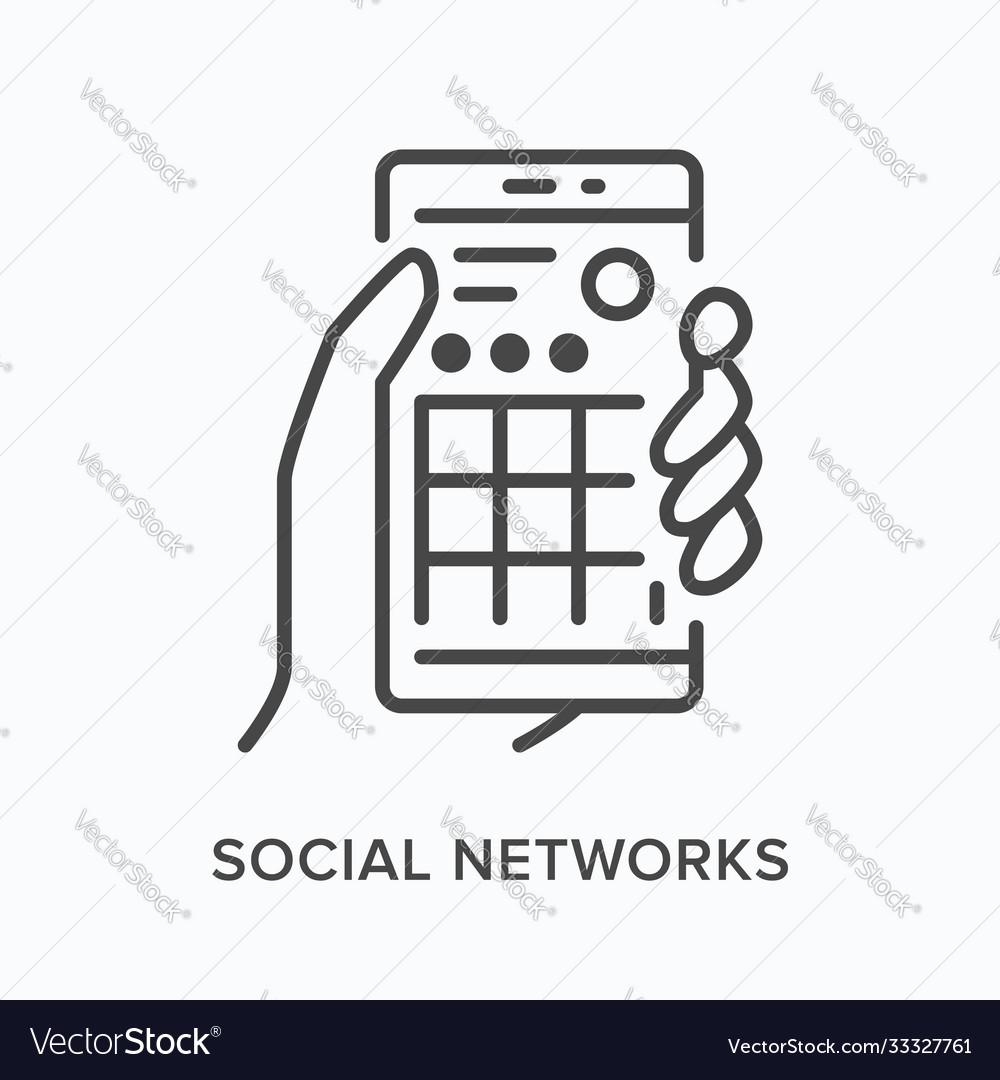 Social media networks flat line icon