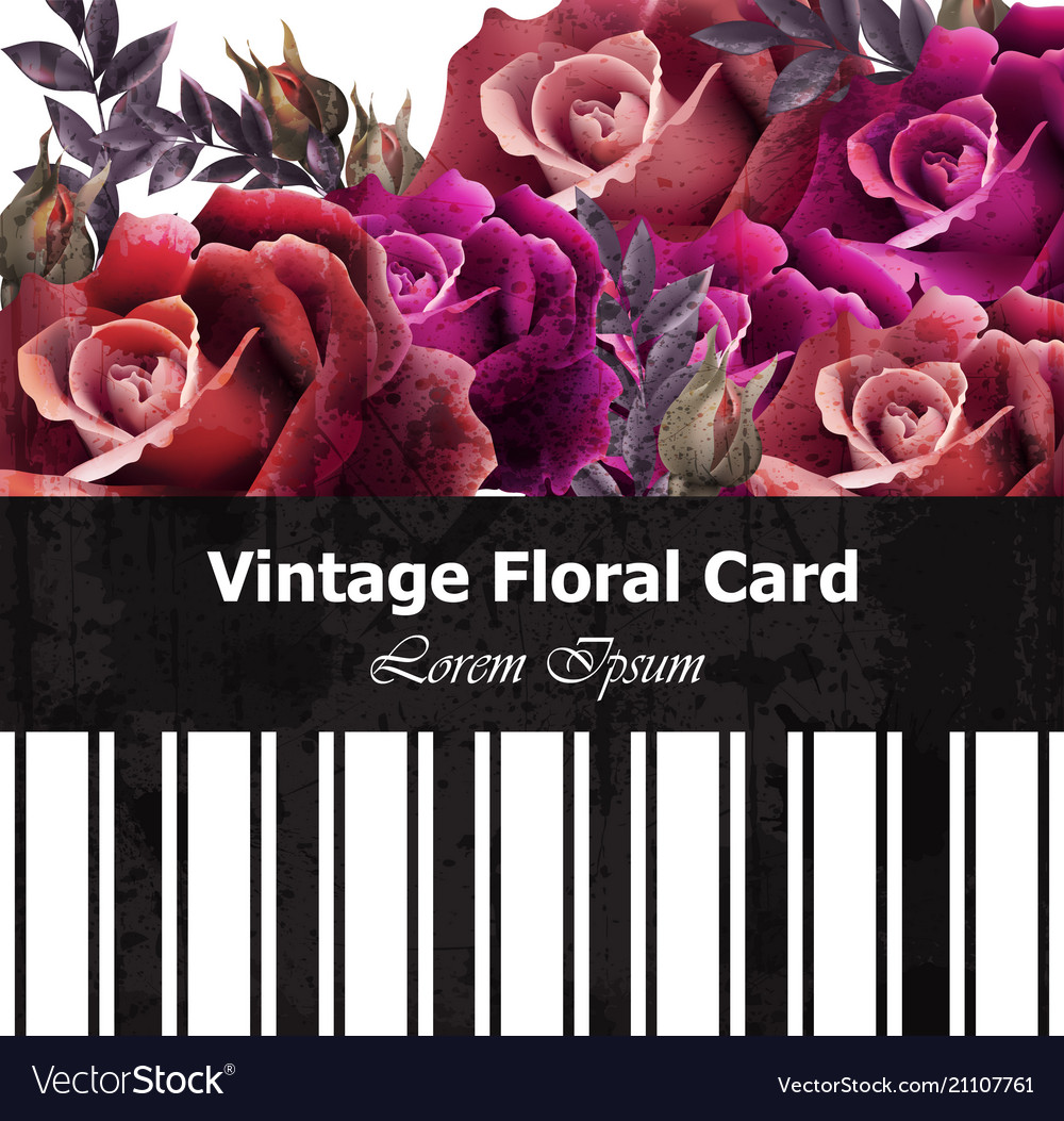 Vintage realistic roses floral card beautiful
