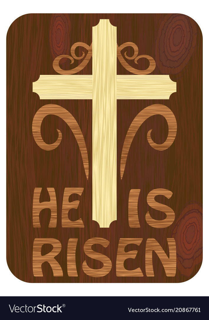 Woodart inlay with he is risen inscription