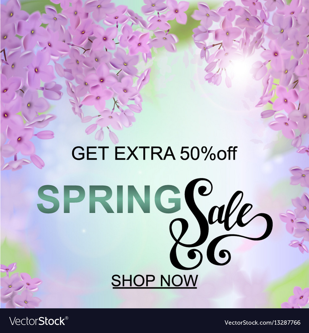 Advertisement about the spring sale on defocused