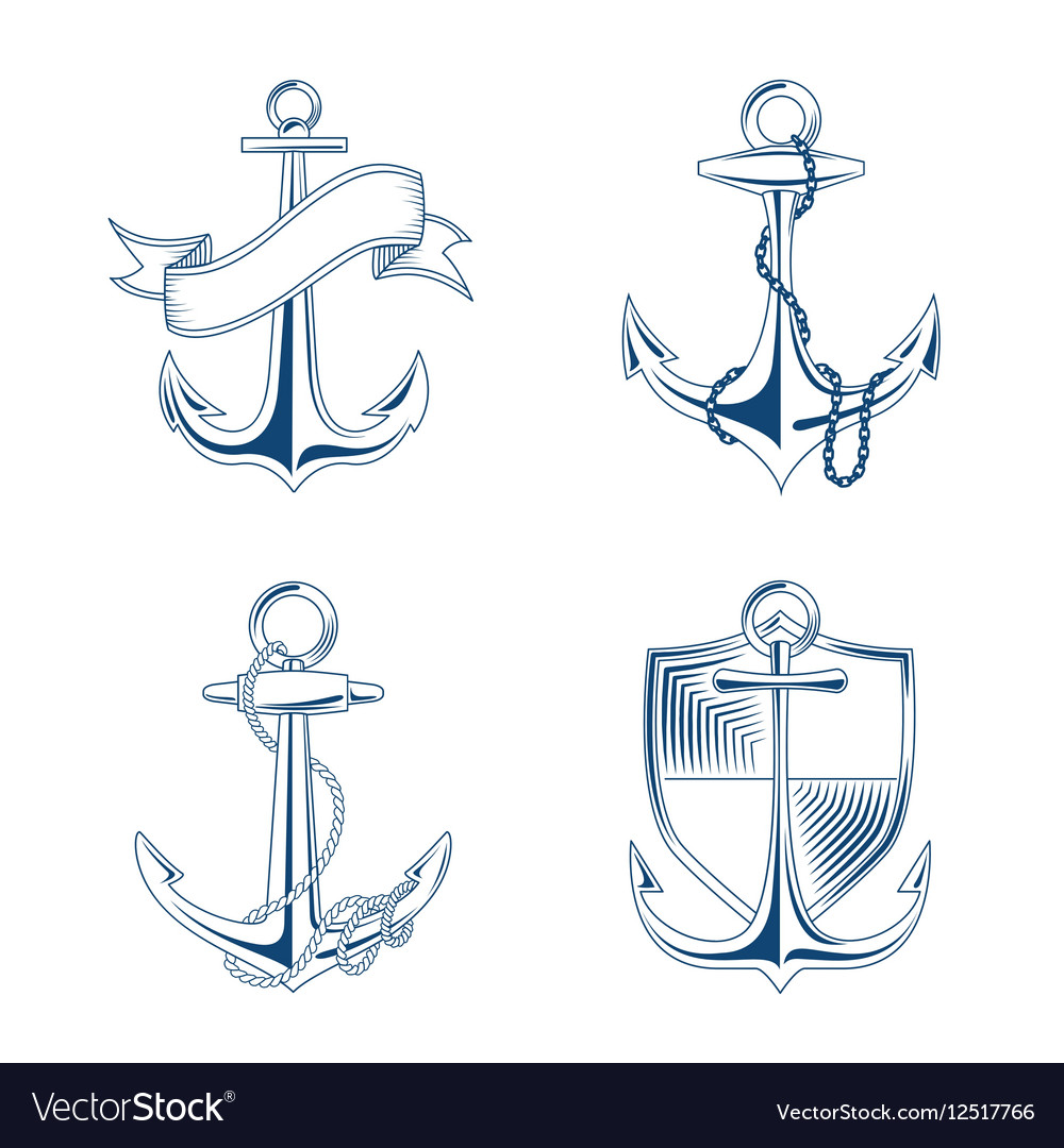 Anchor with rope and chain set