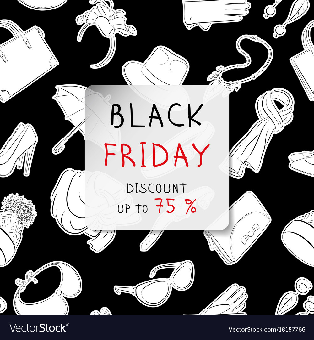 Black friday square banner fashion accessories in