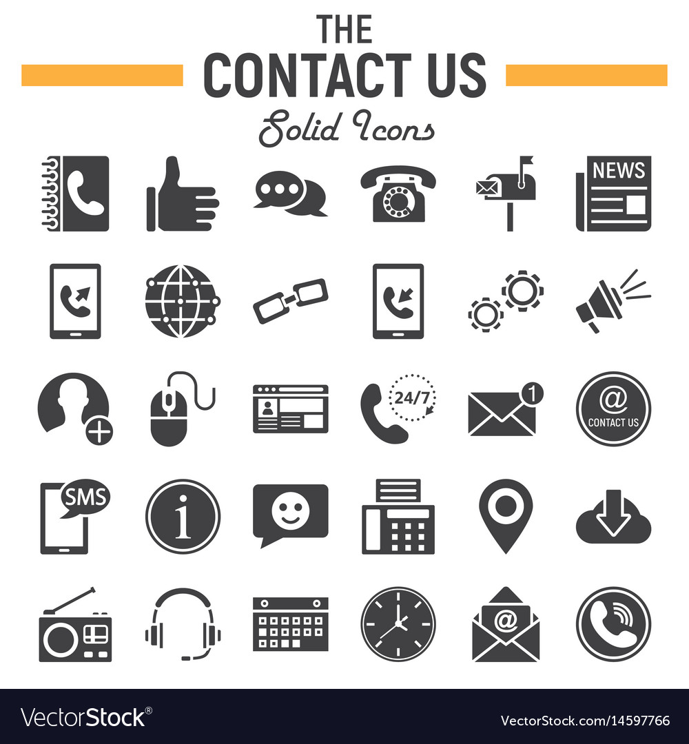 Contact us solid icon set web button signs
