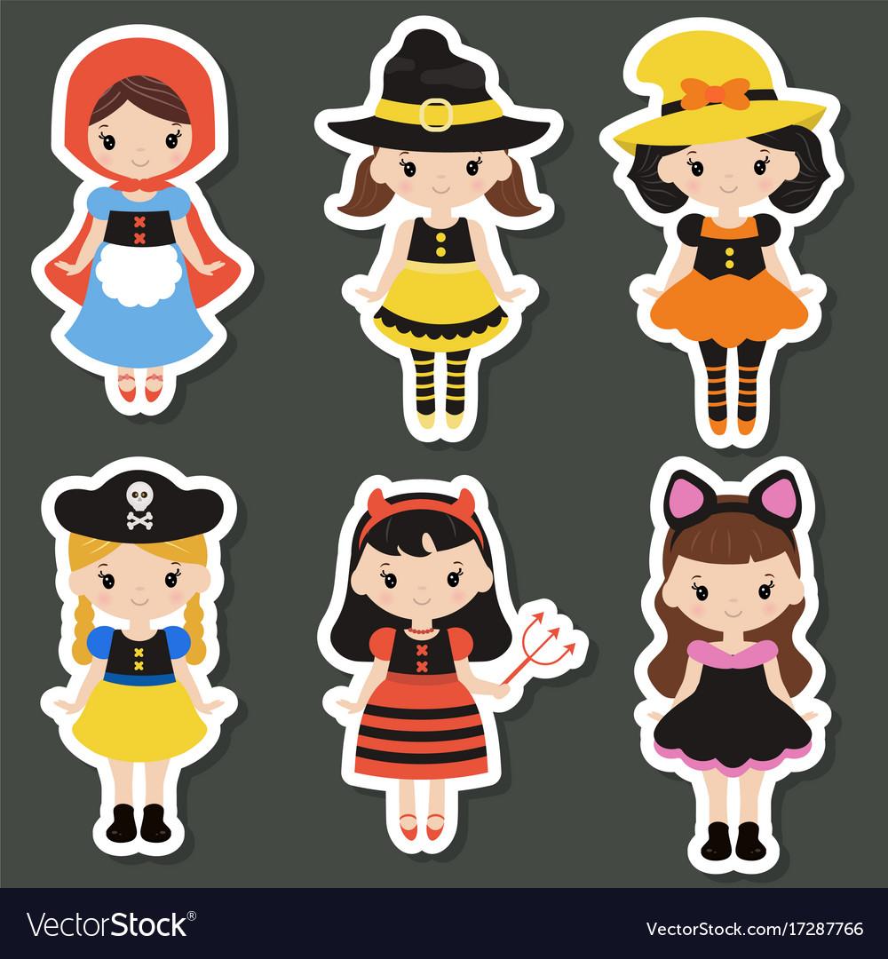 Cute cartoon children in colorful halloween