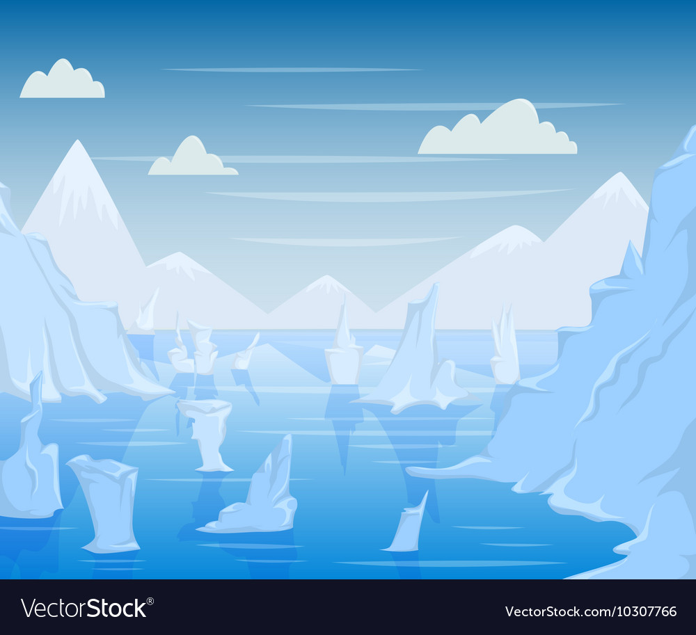 Polar landscape with mountains and icebergs