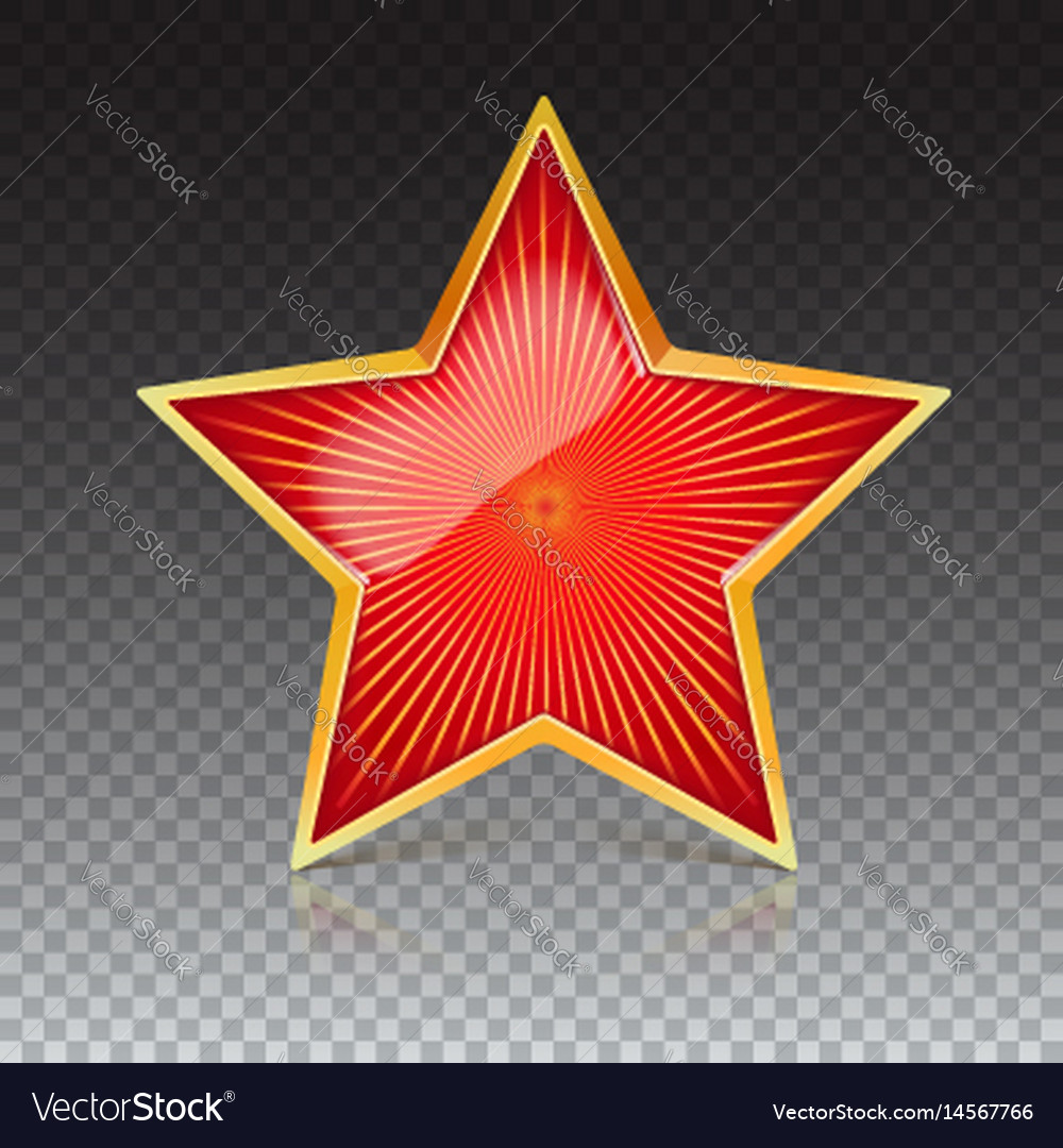Red star with gold metal rim and radiating from