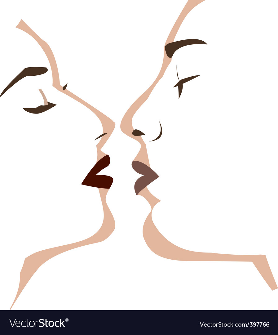 Vector two lovers kissing vector image