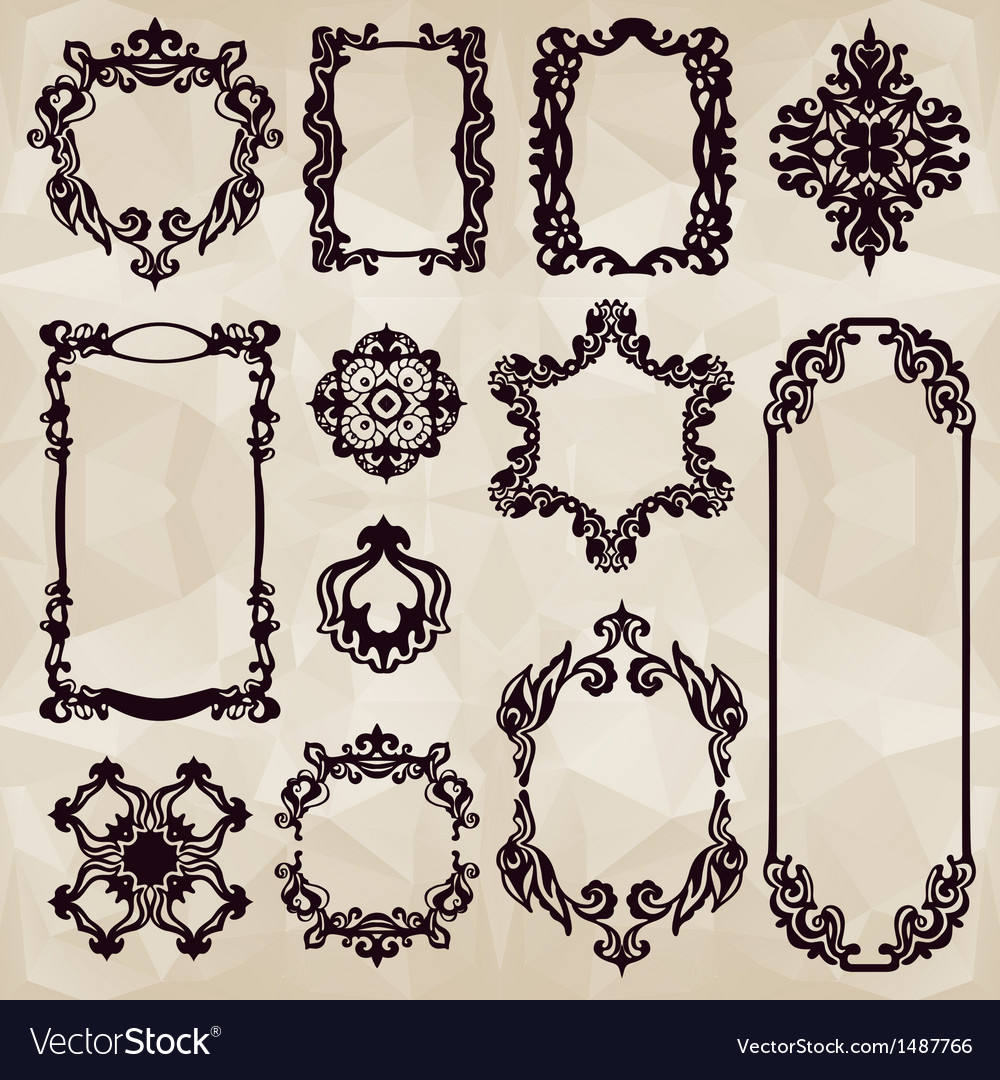Vintage typographic element collecton vector image